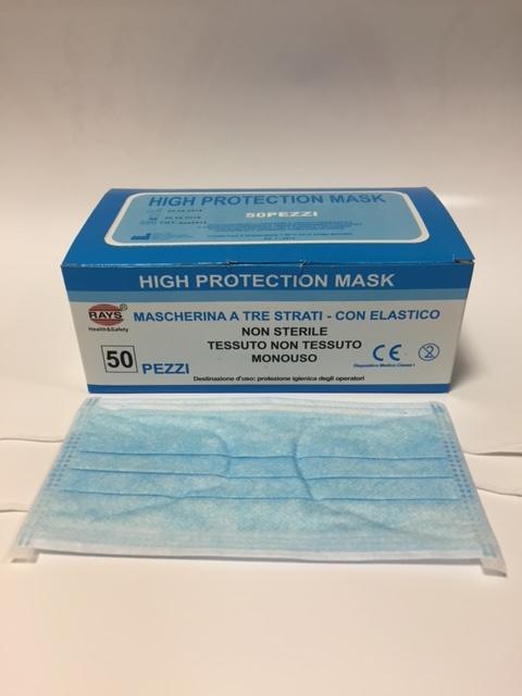 Mascherine Chirurgiche Polipropilene Elastici - 500 pezzi  ( 10 confezioni ) - Rays