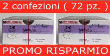 PROMO RISPARMIO: 2 Conf. SUTURE CHIRURGICHE ASSUFIL ( EP 3 ) 2/0 AGO CILINDRICO 1/2 - 31,1 MM ( COD. FU246 )