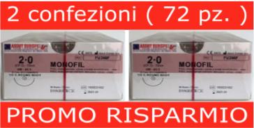 PROMO RISPARMIO: 2 conf. SUTURE CHIRURGICHE MONOFIL ( EP 3 ) 2/0 AGO CILINDRICO 1/2 - 31,1 MM ( COD. FU246F )