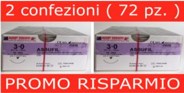 PROMO RISPARMIO: 2 Conf. SUTURE CHIRURGICHE ASSUFIL ( EP 2 ) 3/0 AGO TRIANGOLARE 3/8 - 24,3 MM ( COD. FV533 )