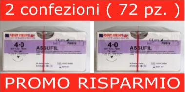 PROMO RISPARMIO: 2 CONF. SUTURE CHIRURGICHE ASSUFIL ( EP 1,5 ) 4/0 AGO TRIANGOLARE 3/8 - 18,7 MM ( COD. FW 515 )
