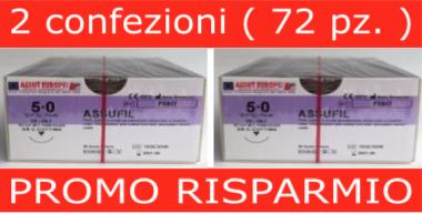 PROMO RISPARMIO: 2 CONF. SUTURE CHIRURGICHE ASSUFIL ( EP 1 ) 5/0 AGO TRIANGOLARE 3/8 - 18,7 MM ( COD. FX517 )