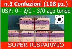 SUPER RISPARMIO: 3 Conf. SUTURE CHIRURGICHE ASSUFIL - USP: 0 + 2/0 + 3/0 Ago Tondo