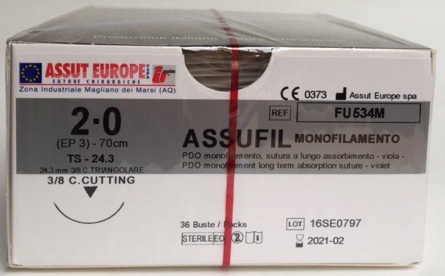 Suture Chirurgiche ASSUFIL MONOFILAMENTO ( EP 3 ) 2/0 AGO TRIANGOLARE 3/8 - 24,3 mm. ( cod. FU534M )