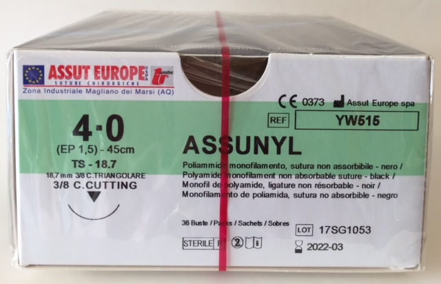 Suture Chirurgiche ASSUNYL ( EP 1,5 ) 4/0 AGO TRIANGOLARE 3/8 - 18,7 mm. ( cod. YW515 )