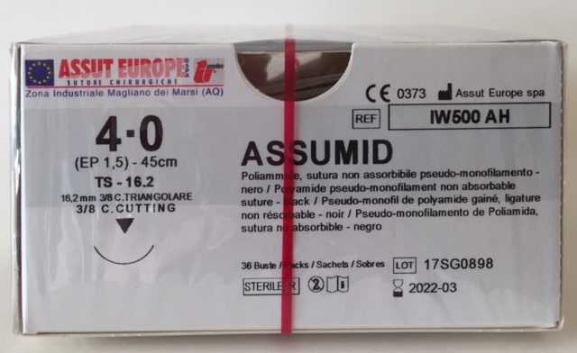 Suture Chirurgiche ASSUMID ( EP 1,5 ) 4/0 AGO TRIANGOLARE 3/8 - 16,2 mm ( cod. IW500AH )