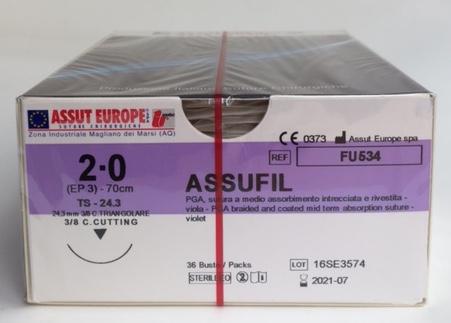 Suture Chirurgiche ASSUFIL ( EP 3 )  2/0 AGO TRIANGOLARE 3/8 - 24,3 mm ( cod. FU534 )