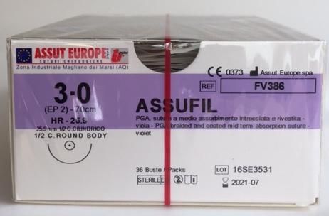 Suture Chirurgiche ASSUFIL ( EP 2 )  3/0 AGO CILINDRICO 1/2 - 25,9 mm ( cod. FV386 )