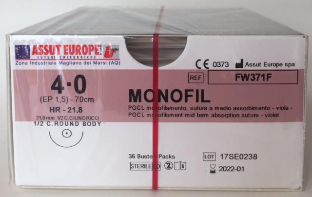 Suture Chirurgiche MONOFIL ( EP 1,5 ) 4/0 AGO CILINDRICO 1/2 - 21,8 mm ( cod. FW371F )