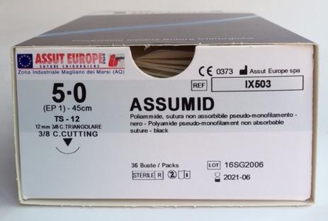 Suture Chirurgiche ASSUMID ( EP 1 )  5/0 AGO TRIANGOLARE 3/8 - 12 mm ( cod. IX503 )