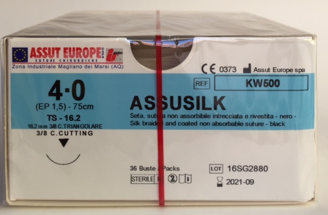 Suture Chirurgiche ASSUSILK ( EP 1,5 ) 4/0 AGO TRIANGOLARE 3/8 - 16,2 mm ( cod. KW500 )